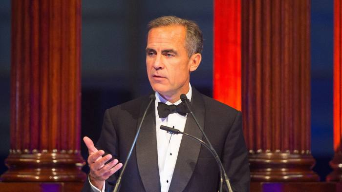 The Governor of the Bank of England, Mark Carney, speaks at a dinner at Lloyd's of London in London on September 29, 2015. Carney spoke of risks posed by climate change to financial stability and long-term prosperity in a speech to business leaders hosted by insurers Lloyds of London. AFP PHOTO / POOL / DOMINIC LIPINSKIDominic Lipinski/AFP/Getty Images