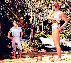 Sean Connery and Ursula Andress in the James Bond film 'Dr No'