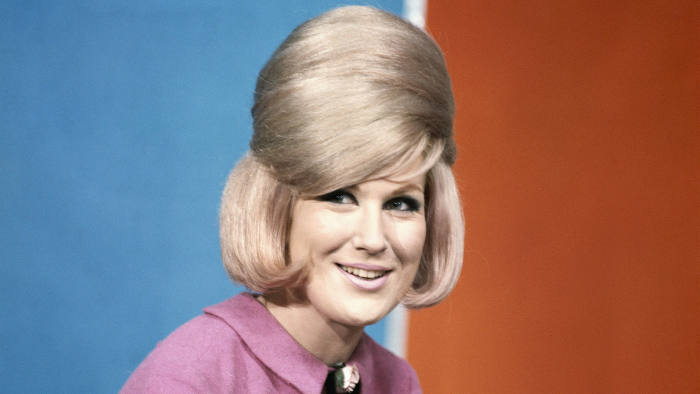 Dusty Springfield poses on the set of Thank Your Lucky Stars TV show in Aston Studios c 1966 in Birmingham, United Kingdom