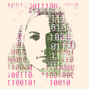 An illustration of a woman's face surrounded with 1's and 0's
