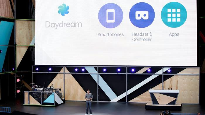 Clay Bavor, vice president of virtual reality at Google, introduces Daydream during the Google I/O 2016 developers conference in Mountain View, California May 18, 2016. REUTERS/Stephen Lam