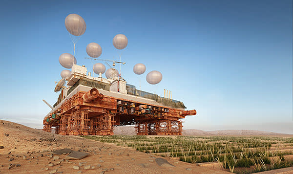 An artist's impression of the 'Green Machine', a mobile, city-sized structure that would slowly move across the Sahara cultivating the land