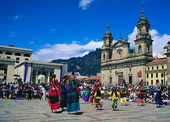 Crowds gather in the Plaza de Bolivar in Bogotá