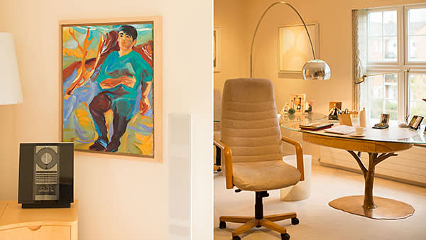 From left: Portrait of Giles, by June Redfern; office, with a desk by Nick Allen; Stephanie Shirley