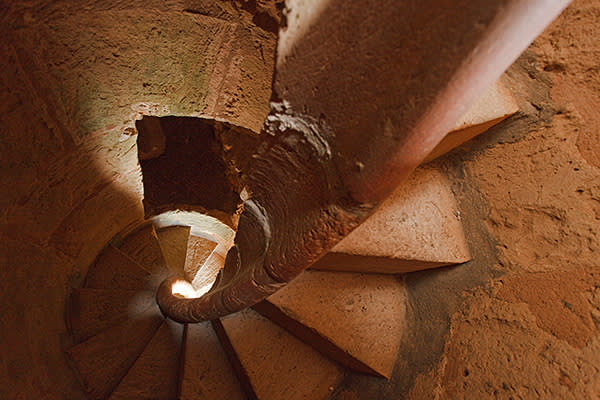 Spiral staircase at a fort from 14th. century, Es Port, Cabrera island, Balearic Islands, Spain, Europe