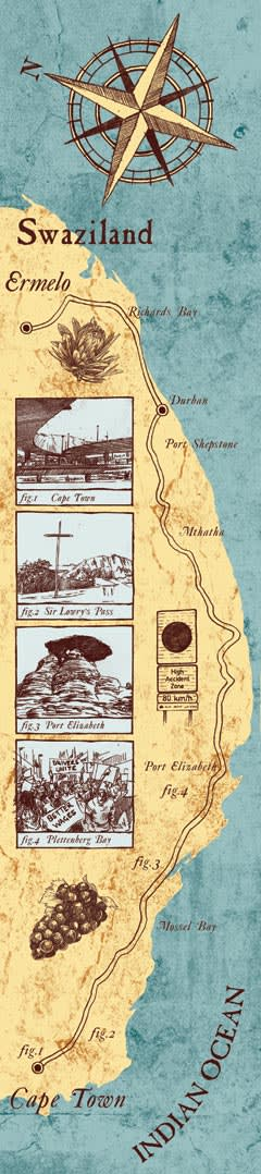 Illustration by Toby Whitebread of a road along South Africa