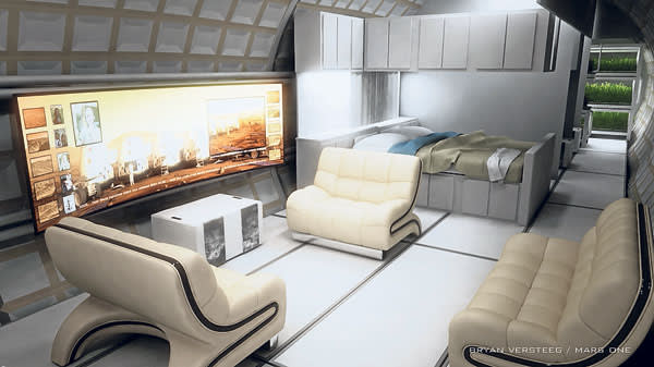 CGI of the interior of a Mars One 'habitat' featuring seats, a,table, bed and TV