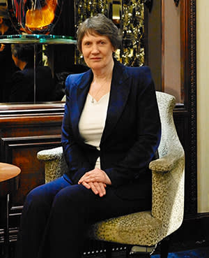 Helen Clark in London, shortly before flying out to Davos