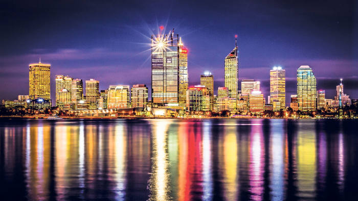 Perth's central business district at night