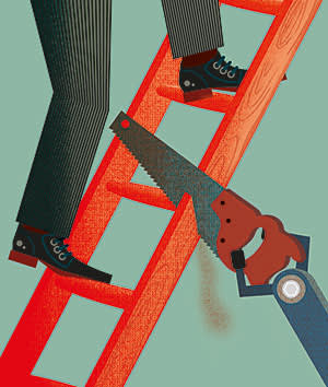 illustration of a person climbing a ladder that is being cut by a saw