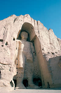 One of the huge statues before its destruction by the Taliban in 2001