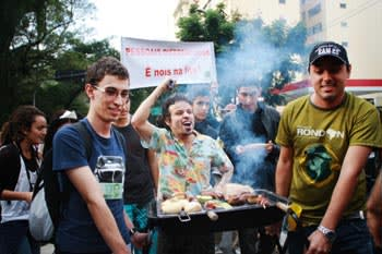 Pictures posted on Facebook show the popularity of 'barbecue protests' in Brazil