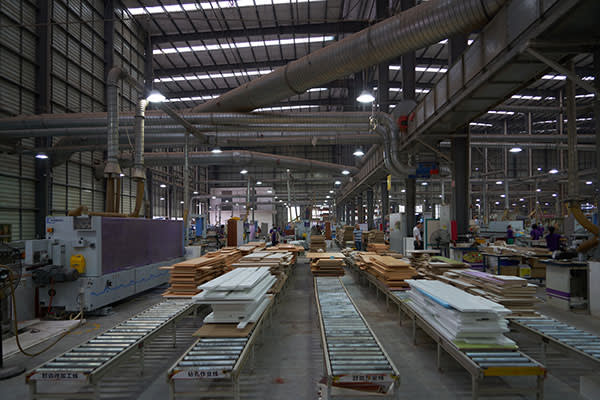 The Shangpin Home Collection factory where the use of robots to cut and drill wooden planks improved productivity by 40 per cent