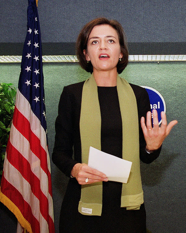WASHINGTON, :  Danish Minister of Education Margrethe Vestager speaks at the National Press Club in Washington, DC 16 November, 2000. Vestager and US Secretary of Education Richard Riley signed the International Education Initiative to compare and improve education and to achieve a universal basic education. (Photo credit should read MANNY CENETA/AFP/Getty Images)