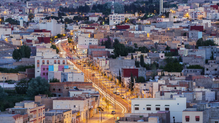 """""""Aerial view of Midelt cityscape at night, Morocco"""""""