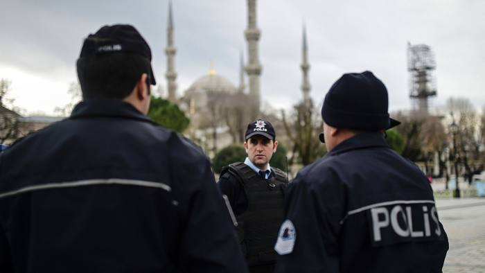 TOPSHOT - Turkish police officers stand ...TOPSHOT - Turkish police officers stand guard near the Blue Mosque in Istanbul's tourist hub of Sultanahmet on January 13, 2016, a day after an attack. Turkish authorities probed how a jihadist from Syria killed 10 mainly German tourists in an attack in the heart of Istanbul that raised alarm over security in the city. / AFP / BULENT KILICBULENT KILIC/AFP/Getty Images