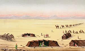 """Our Desert Camp"", a colour engraving by Richard Burton"