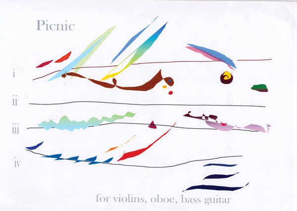 Cilla McQueen's 'Picnic' for violins, oboe and bass guitar (2006)