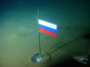 The Russian flag, seconds after being planted on August 2 2007 on the North Pole