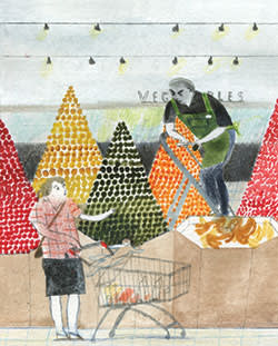 Illustration by Laura Carlin of buyer and vendor