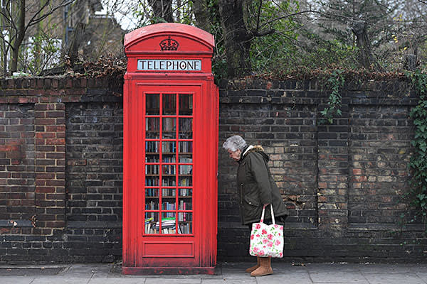 An old K2 box in London now used as a library