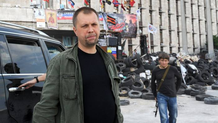 """Self-proclaimed """"prime minister"""" of the pro-Russian separatists' self-declared """"People's Republic of Donetsk"""" Alexander Borodai in Donetsk earlier this year"""