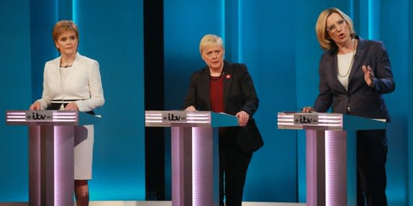 LONDON, UNITED KINGDOM - JUNE 9: (NO ARCHIVE AFTER JUNE 30, 2016) In this handout image provided by ITV, (L-R) Nicola Sturgeon, Angela Eagle and Amber Rudd during The ITV Referendum Debate on June 9, 2016 in London, United Kingdom. During the two hour long live debate participants answered questions posed by the audience. Nicola Sturgeon, Angela Eagle and Amber Rudd argued for staying in the EU, whilst Boris Johnson, Andrea Leadsom and Gisela Stuarttake argued for leaving the EU. (Photo by Matt Frost/ITV via Getty Images)