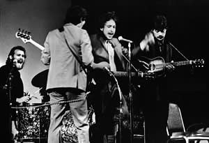 Dylan and the Band at Carnegie Hall, New York, in 1968