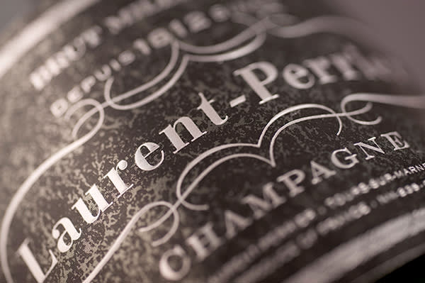 BY4GX8 Laurent Perrier Champagne Label Closeup