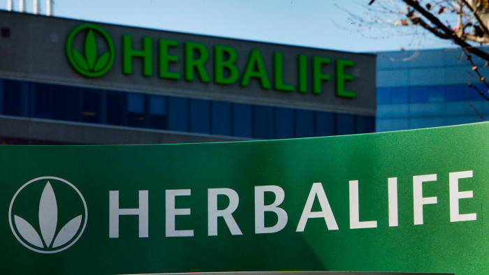 Herbalife Ltd. signage is displayed outside of the company's corporate headquarters in Torrance, California