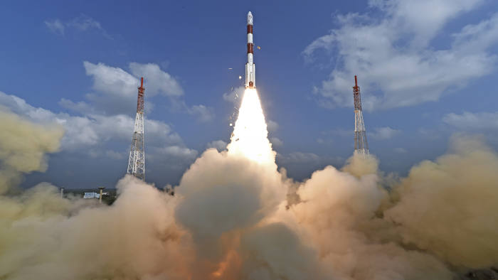 This photograph released by Indian Space Research Organization shows its polar satellite launch vehicle lifting off from a launch pad at the Satish Dhawan Space Centre in Sriharikota, India, Wednesday, Feb.15, 2017. India's space agency said it successfully launched more than 100 foreign nano satellites into orbit Wednesday aboard a single rocket.( Indian Space Research Organization via AP)