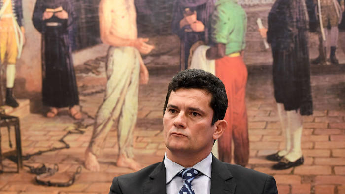 Federal Judge Sergio Moro gestures during a public hearing at the special committee of the Chamber of Deputies that discusses changes in the code of criminal procedure in Brasilia, Brazil, on March 30, 2017.