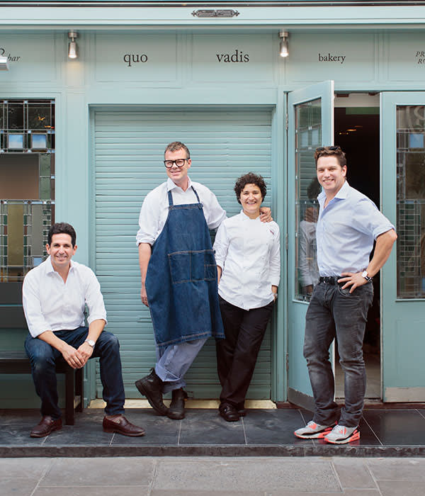 From left: Sam Hart, Jeremy Lee, Nieves Barragán and James Hart outside Quo Vadis in Dean Street