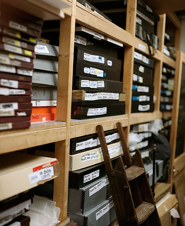 Shelves of photographic files in the print room