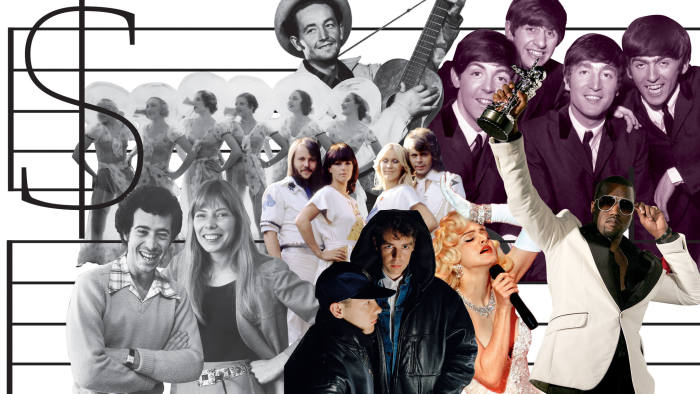 clockwise from top left: Gold Diggers of 1933, Woody Guthrie, The Beatles, Kanye West, Madonna, the Pet Shop Boys, David Geffen and Joni Mitchell, Abba
