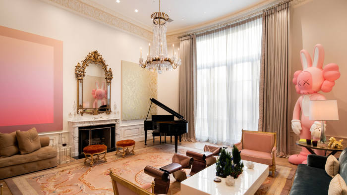 Reception room of six-bedroom beaux arts townhouse on East 62nd Street