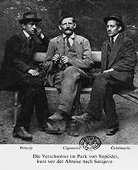 Conspirators (from left) Princip, Milan Ciganovic and Cabrinovic before the assassination