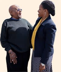 Tutu with his daughter Mpho, an ordained priest and director of Tutu's foundation