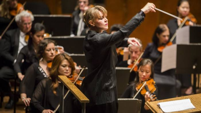 Susanna Mälkki making her debut conducting the New York Philharmonic with Kirill Gerstein as soloist on piano performing at Avery Fisher Hall, 5/21/15. Photo by Chris Lee