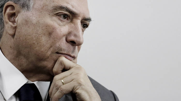 Brazil's President Michel Temer, speaks during an interview with the Financial Times at his office in Sao Paulo, Brazil, January 31, 2017.
