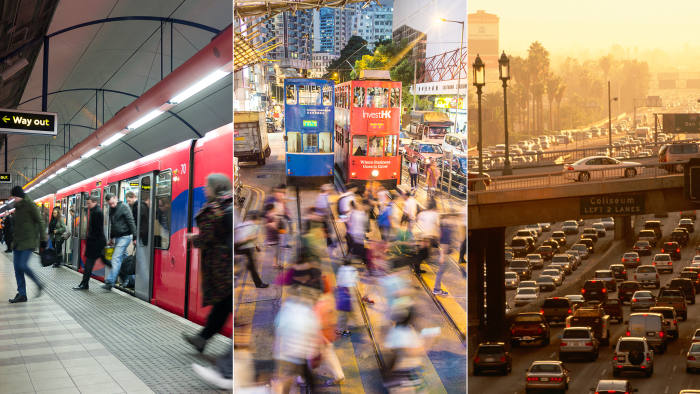 From left: commuters on the London Underground; tram crossing in Hong Kong; traffic jam in downtown Los Angeles