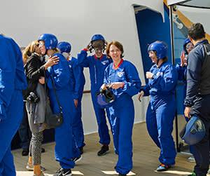 Lucy Kellaway in her blue flying suit