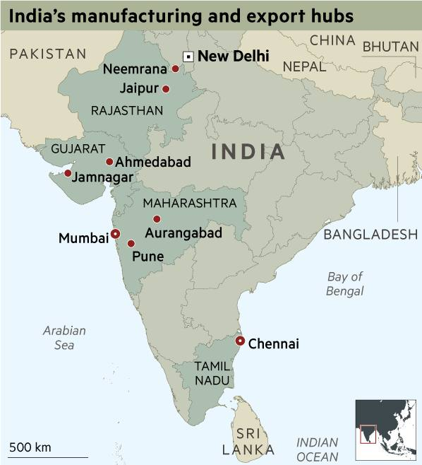 India manufacturing and export hubs map