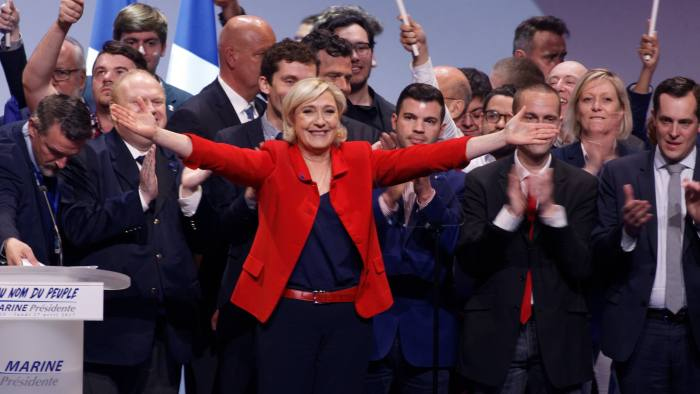 PARIS, FRANCE - APRIL 17: French presidential far-right candidate Marine Le Pen gestures to the crowd on stage for after her speech during a campaign rally at Zenith on April 17, 2017 in Paris, France. (Photo by Sylvain Lefevre/Getty Images)