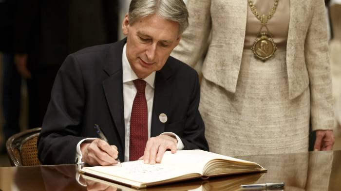 BADEN-BADEN, GERMANY - MARCH 17:  Finance Minister United Kingdom Philip Hammond during the Signing the Baden Baden Visitors Book at the G20 Finance Ministers meeting on March 17, 2017 in Baden Baden, Germany. The meeting of G20 Finance Ministers and Central Bank Governors will take place in Baden-Baden on the 17th to 18th of March and will be chaired by Germany. (Photo by Ronald Wittek - Pool /Getty Images)