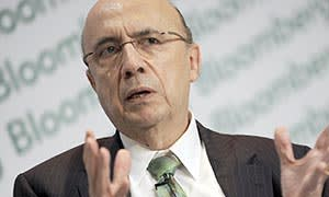Henrique Meirelles, former president of Brazil's central bank, speaks at the Bloomberg Brazil Economic Summit in Sao Paulo, Brazil, on Tuesday, March 29, 2011. Brazil doesn't have the conditions to grow as fast as China or India, though it can do more to attract private capital to boost investment, a former president of Brazil's central bank said today. Photographer: Paulo Fridman/Bloomberg *** Local Caption *** Henrique Meirelles