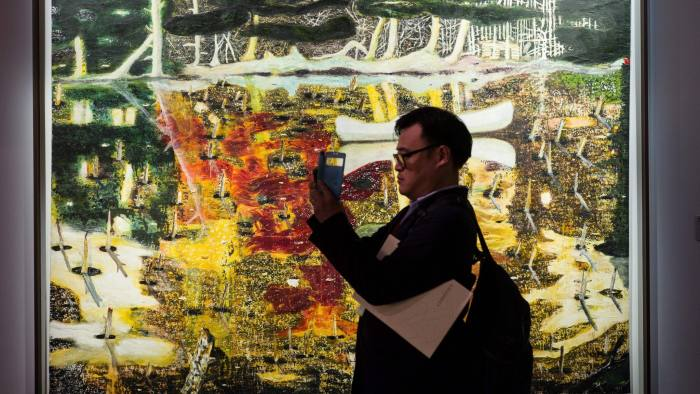 Peter Doig's 'Swamped' at 'The Loaded Brush' display by auction house Christie's in Hong Kong, November 2016, ahead of its first sale of western art masterpieces in the territory