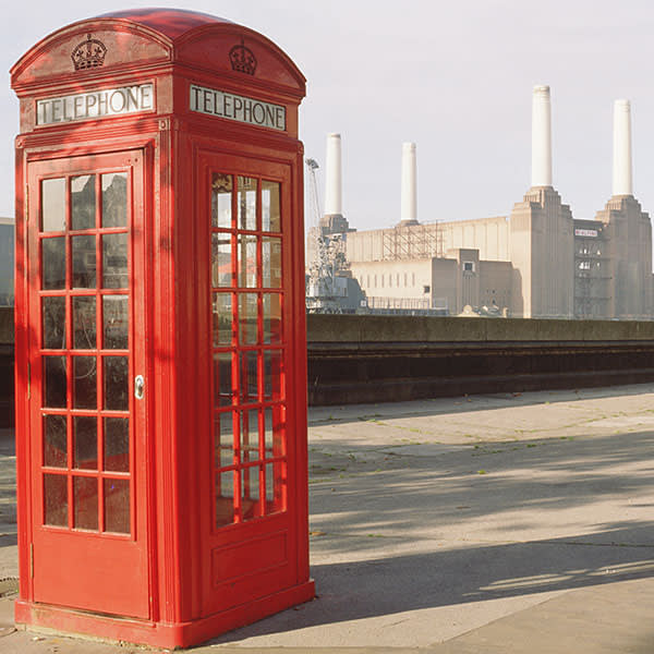 A phone box and Battersea Power Station, both designed by Sir Giles Gilbert Scott