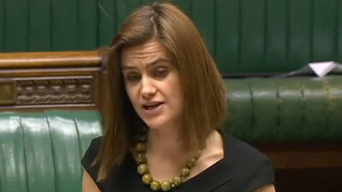 A video grab taken from footage broadcast by the UK parliamentary recording unit (PRU) on June 16, 2016 Labour party member of parliament Jo Cox speaks during a session in the House of Commons in central London on March 21, 2016.
