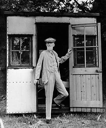 George Bernard Shaw in his revolving writing hut in 1945